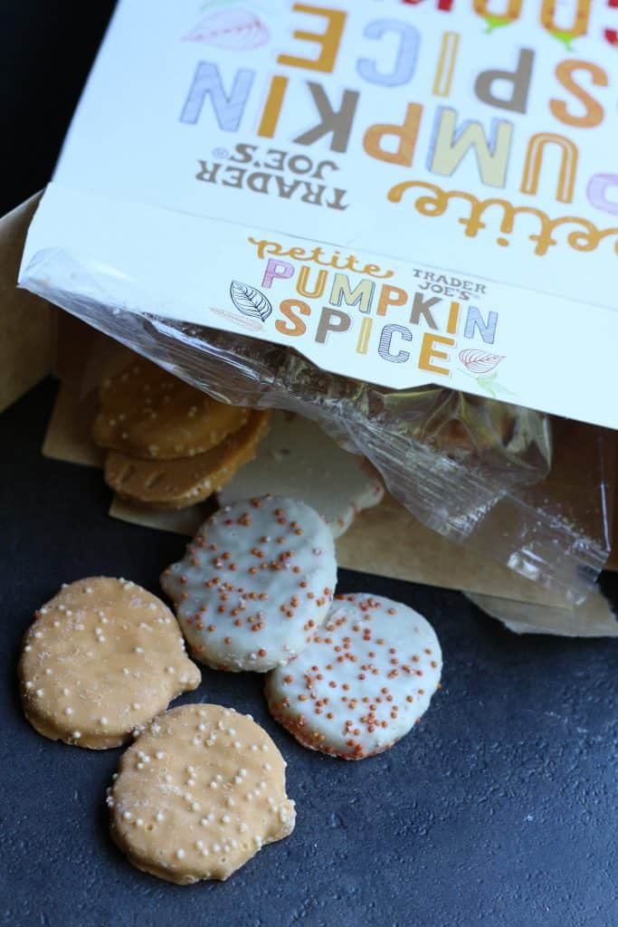 Trader Joe's Petite Pumpkin Spice Cookies out of the box