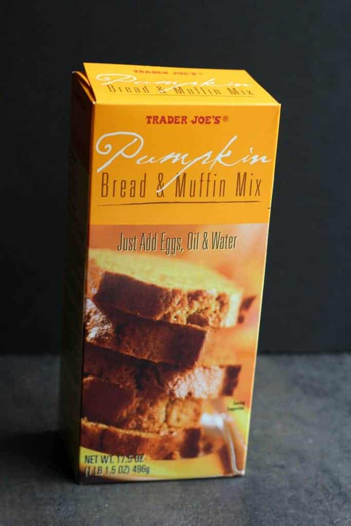 An unopened box of Trader Joe's Pumpkin Bread and Muffin Mix