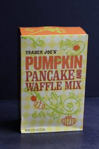 An unopened box of Trader Joe's Pumpkin Pancake and Waffle Mix