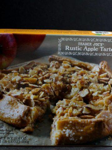 An unopened box of Trader Joe's Rustic Apple Tarte