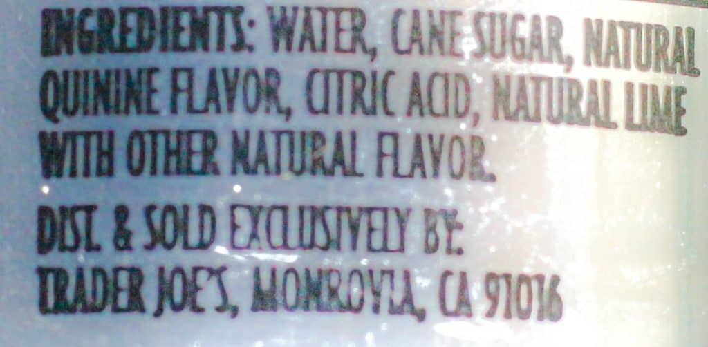 Trader Joe's Tonic Water ingredients