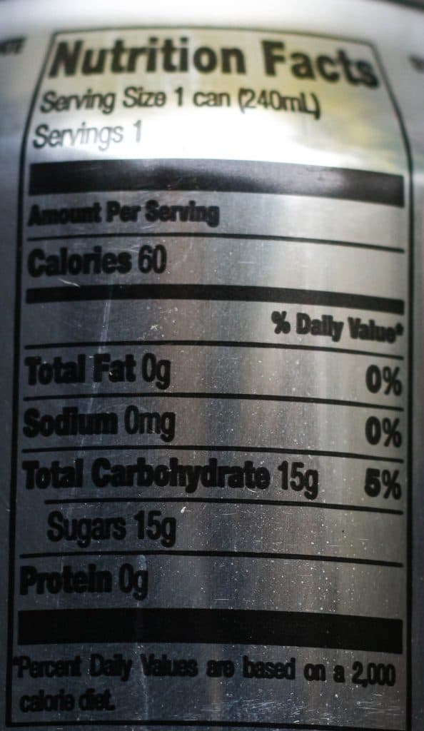 Trader Joe's Tonic Water nutritional information.