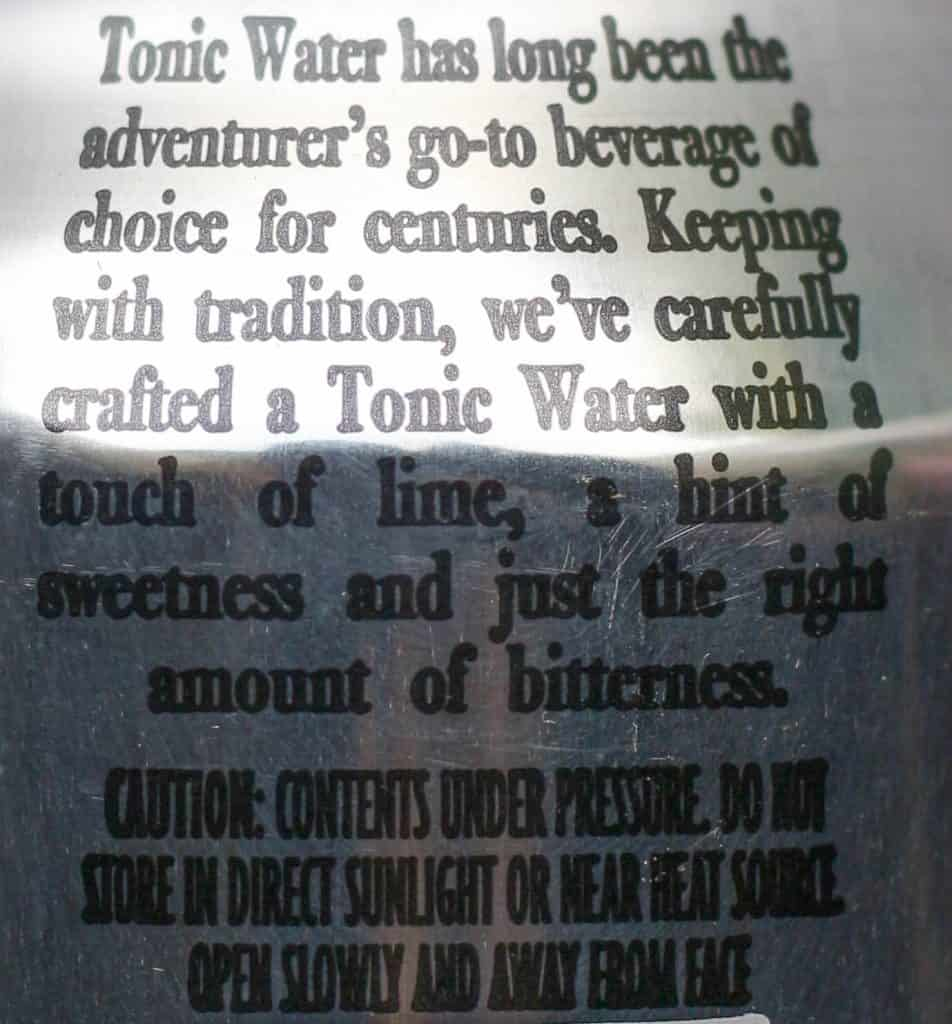 Trader Joe's Tonic Water description on the can
