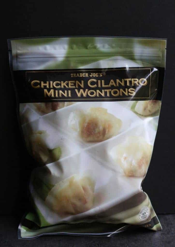An unopened bag of Trader Joe's Chicken Cilantro Mini Wontons