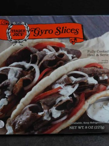An unopened package of Trader Joe's Gyro Slices