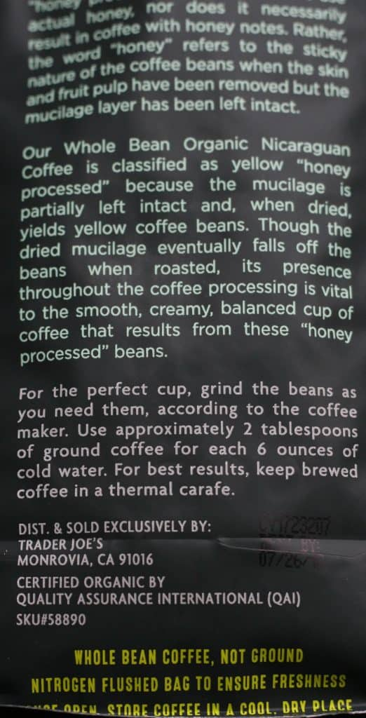Trader Joe's Honey Processed Organic Nicaraguan Coffee