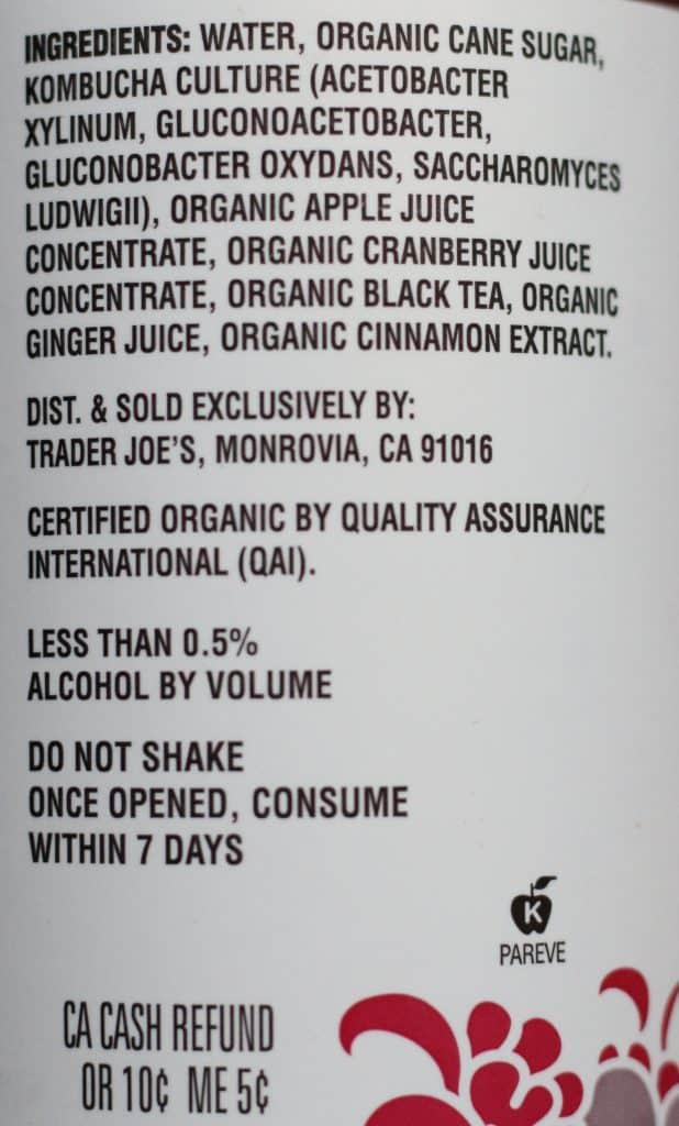 Trader Joe's Organic Cranberry Spiced Apple Kombucha