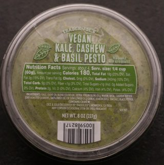 Trader Joe's Vegan Kale, Cashew and Basil Pesto