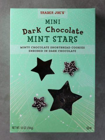 A new box of Trader Joe's Mini Dark Chocolate Mint Stars