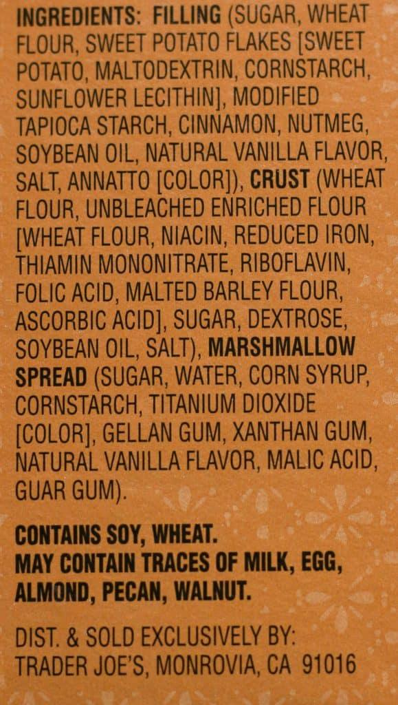 Trader Joe's Sweet Potato and Marshmallow Pixie Pie Mix ingredient list