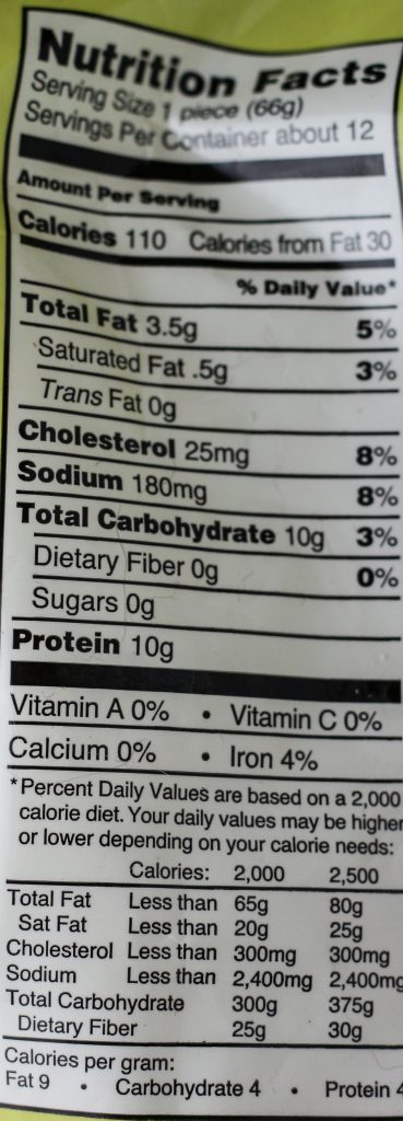 Trader Joe's Breaded Chicken nutritional information from the bag