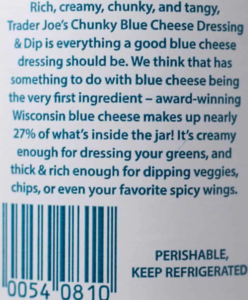 Trader Joe's Chunky Blue Cheese Dressing and Dip description