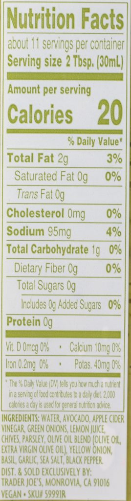 Trader Joe's Green Goddess Salad Dressing nutritional and ingredient information.