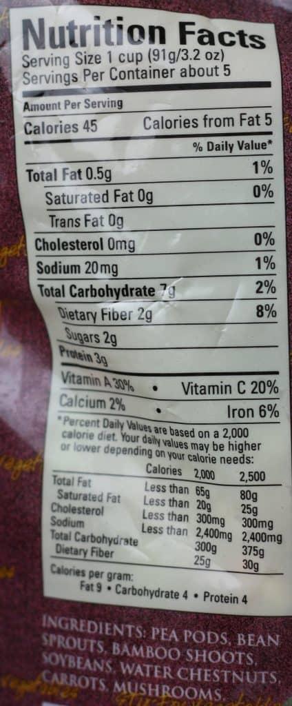 Trader Joe's Stir Fry Vegetables nutritional information and ingredients