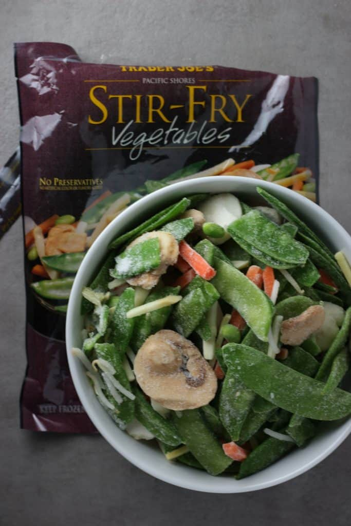 Trader Joe's Stir Fry Vegetables frozen removed from the bag and placed in a white bowl