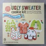 An unopened box of Trader Joe's Ugly Sweater Cookie Kit