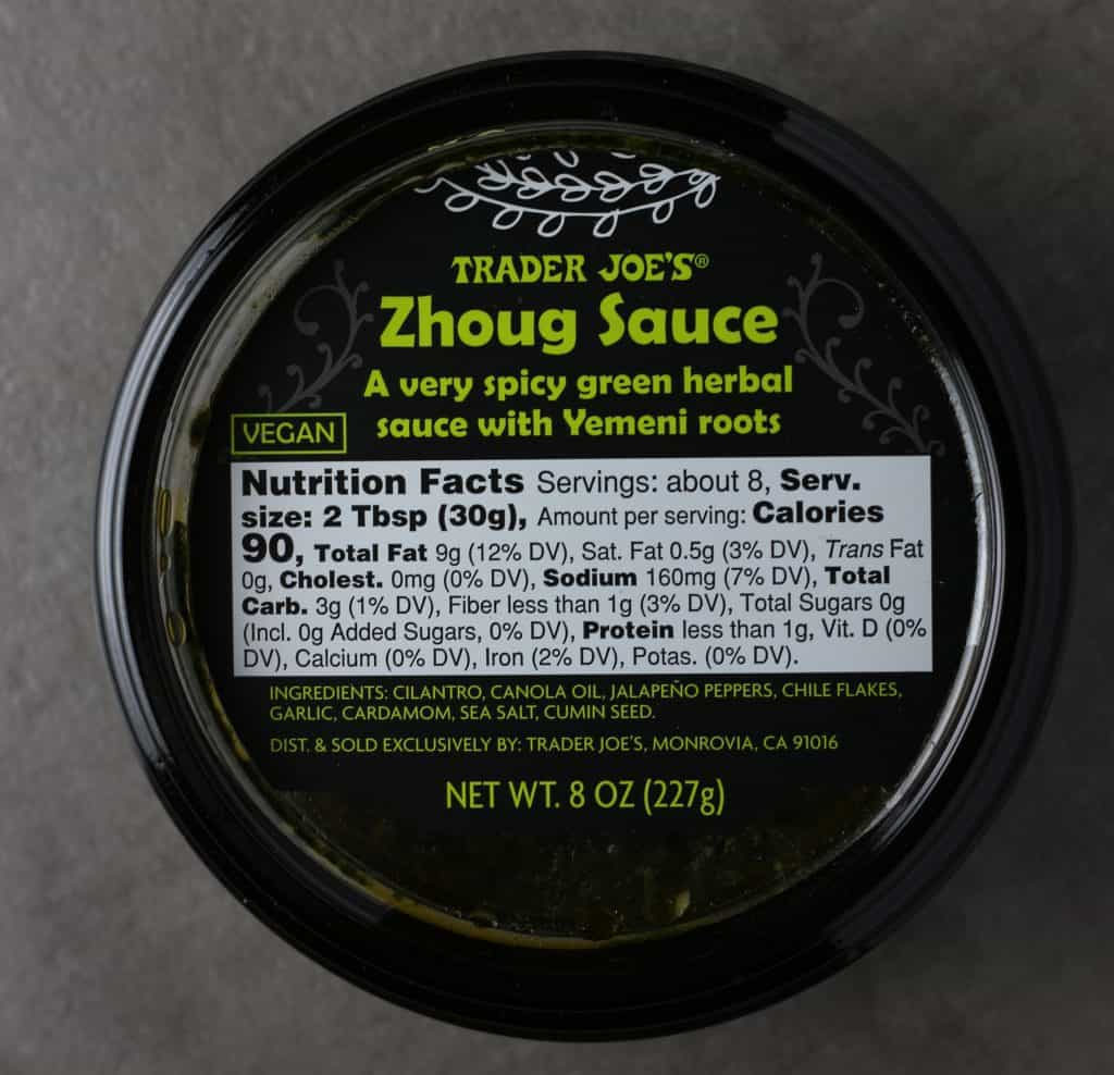 Trader Joe's Zhoug Sauce from the top featuring ingredients and nutritional information.