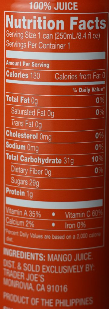Trader Joe's 100% Mango Juice from Carabao Mangoes nutritional information and the ingredients