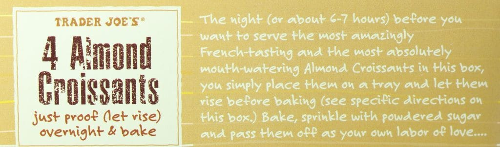 Trader Joe's 4 Almond Croissants description from the box