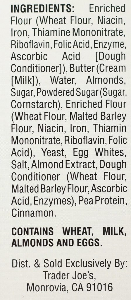 Trader Joe's 4 Almond Croissants ingredient list