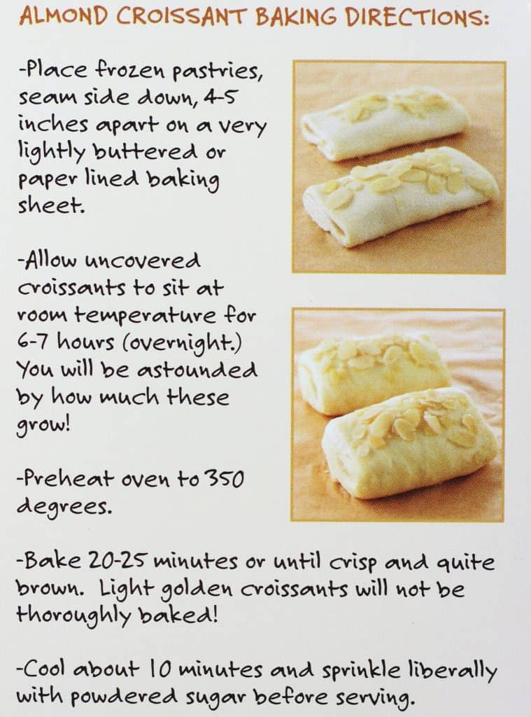 Trader Joe's 4 Almond Croissants how to prepare. The directions for getting these to rise and bake.