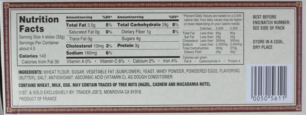 Trader Joe's Brioche Toasts nutritional information and ingredients