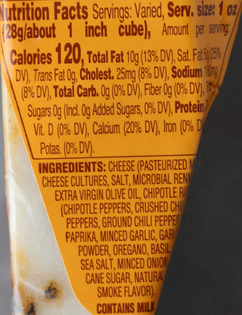 Trader Joe's Chipotle Toscano Cheese nutritional and ingredient information