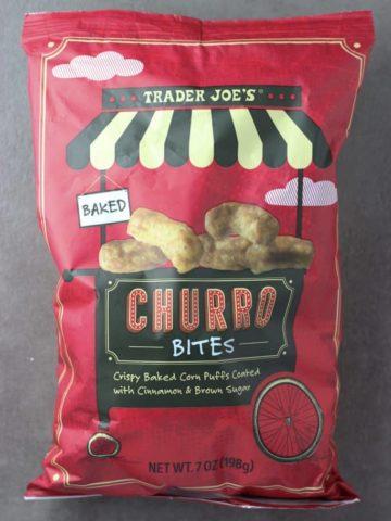 An unopened bag of Trader Joe's Churro Bites Bag