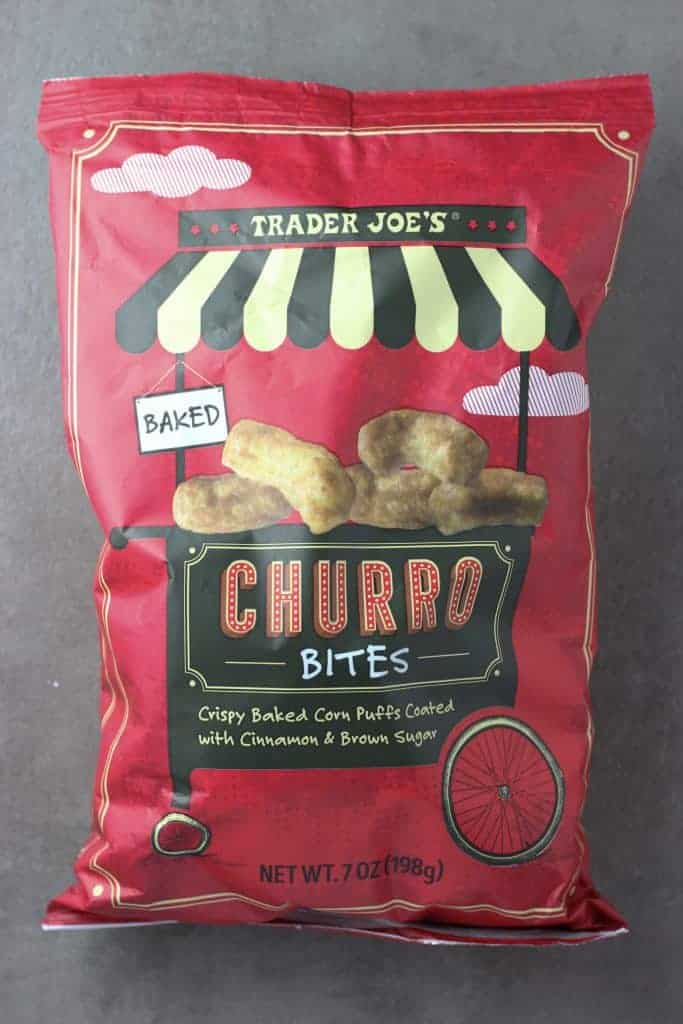 An unopened bag of Trader Joe's Churro Bites Bag
