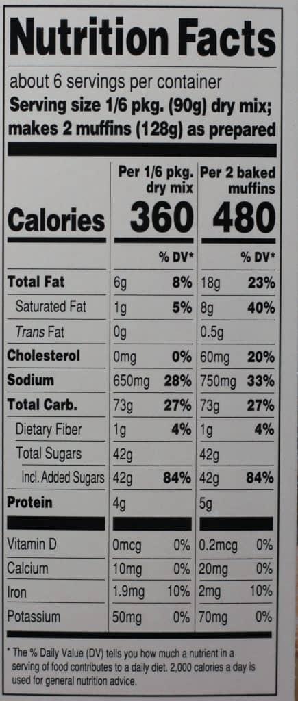 Trader Joe's Cinnamon Sugar Muffin and Baking Mix nutritional information