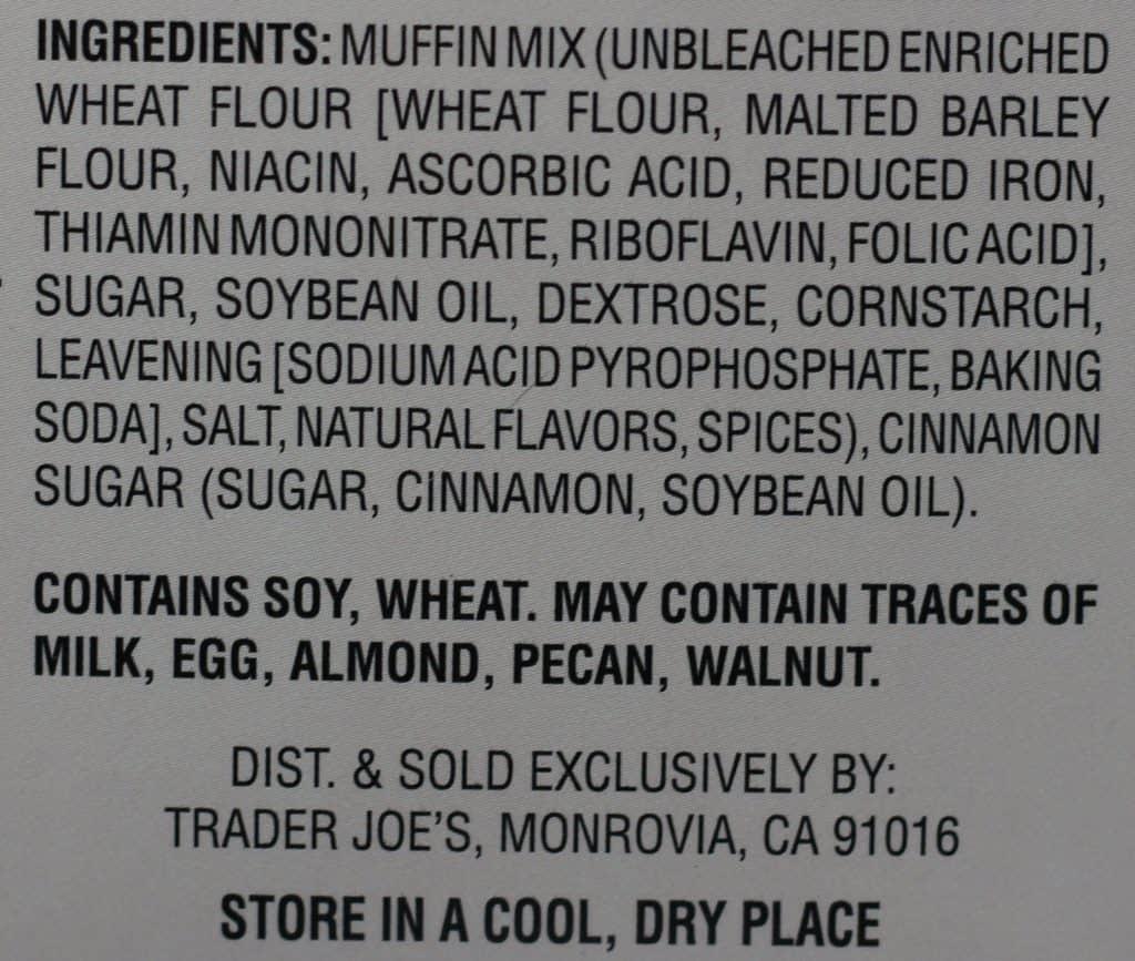 Trader Joe's Cinnamon Sugar Muffin and Baking Mix ingredient list