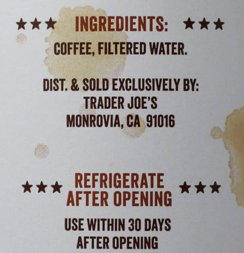 Trader Joe's Cold Brew Coffee Concentrate ingredient list