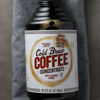 Trader Joe's Cold Brew Coffee Concentrate bottle on a grey napkin