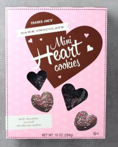 An unopened box of Trader Joe's Dark Chocolate Mini Heart Cookies box