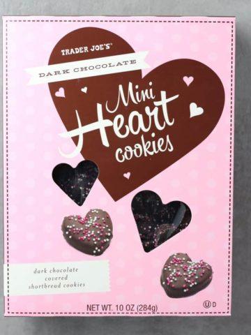 An unopened box of Trader Joe's Dark Chocolate Mini Heart Cookies box