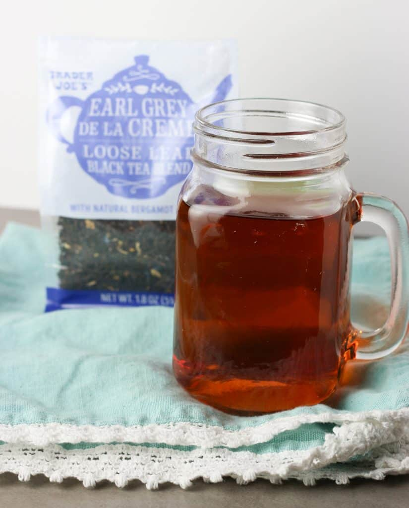 Trader Joe's Earl Grey De La Creme brewed with the bag in the background.