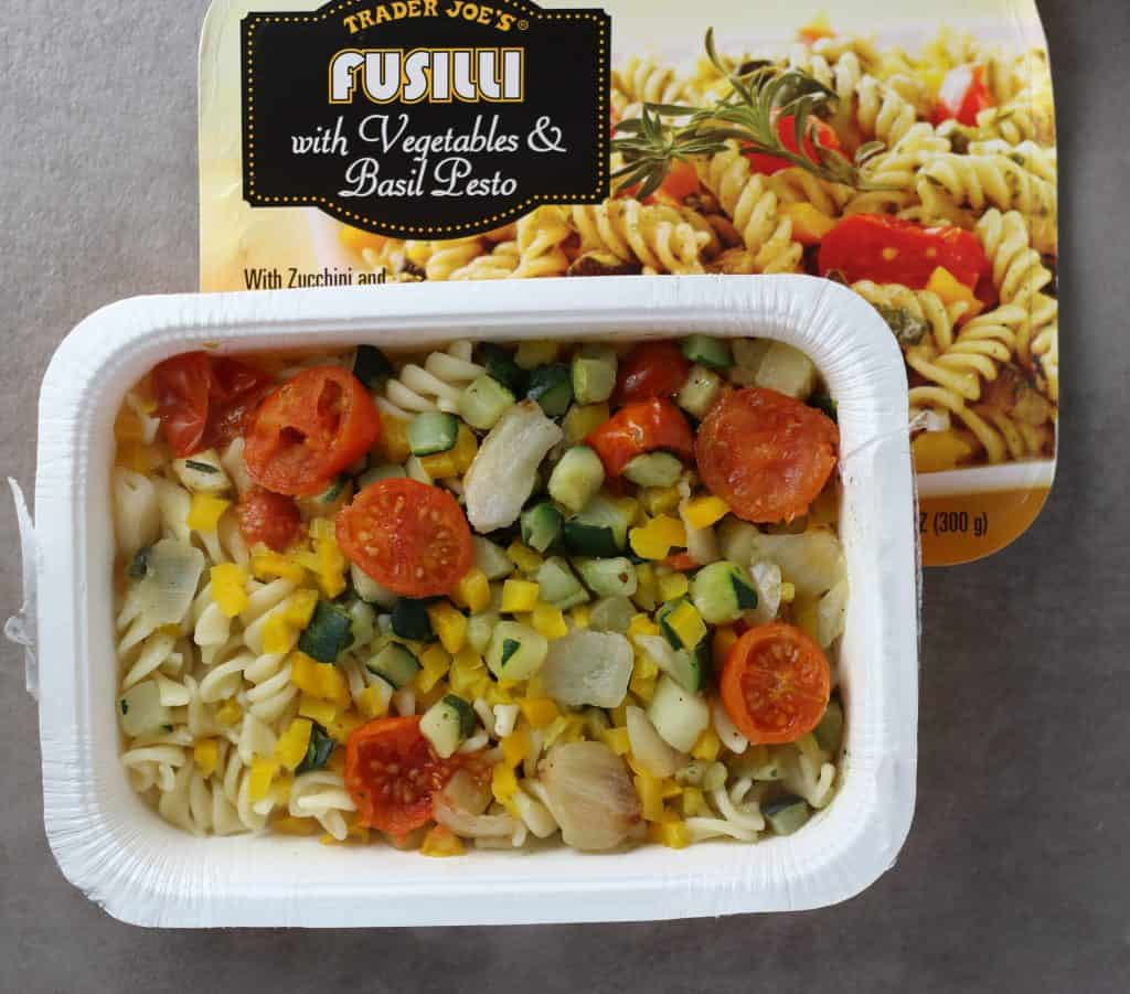 Trader Joe's Fusilli with Vegetables and Basil Pesto out of the microwave