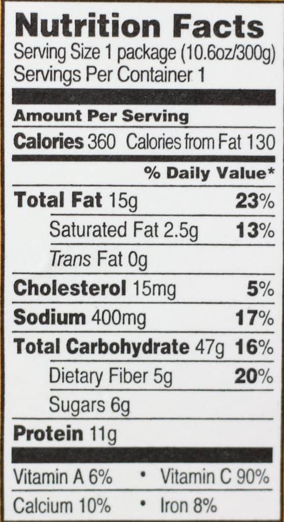 Trader Joe's Fusilli with Vegetables and Basil Pesto nutritional information