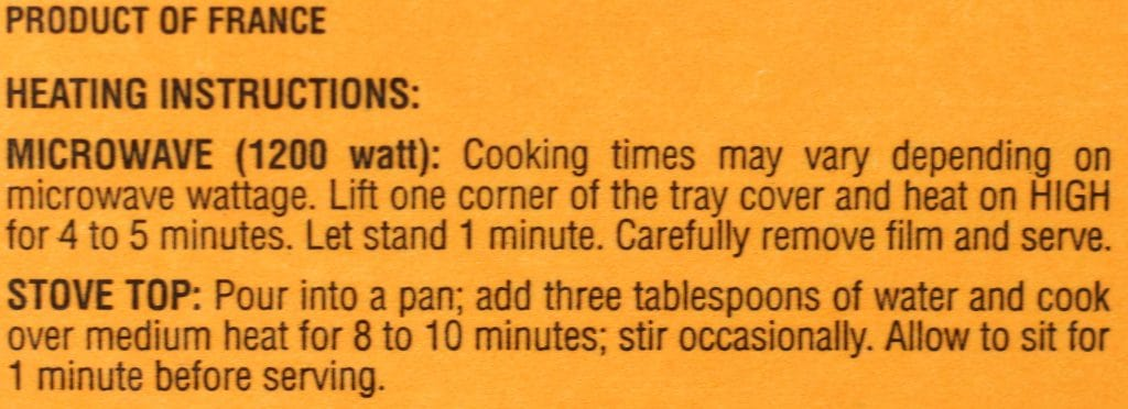 Trader Joe's Fusilli with Vegetables and Basil Pesto heating instruction
