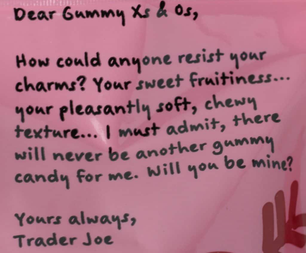 Trader Joe's Gummy Xs and Os description