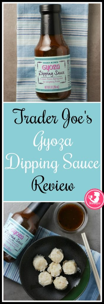 Trader Joe's Gyoza Dipping Sauce review collage of bottle and product next to shu mai