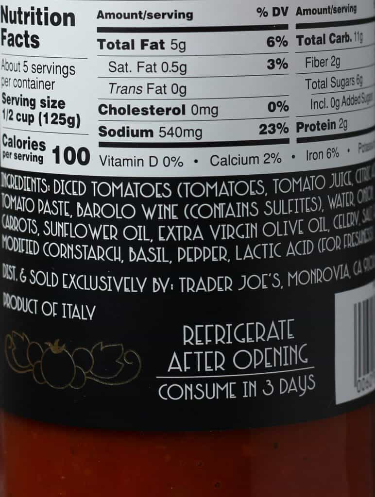 Trader Joe's Italian Marinara Sauce with Barolo Wine nutritional information and ingredient list