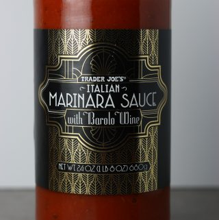 An unopened jar of Trader Joe's Italian Marinara Sauce with Barolo Wine