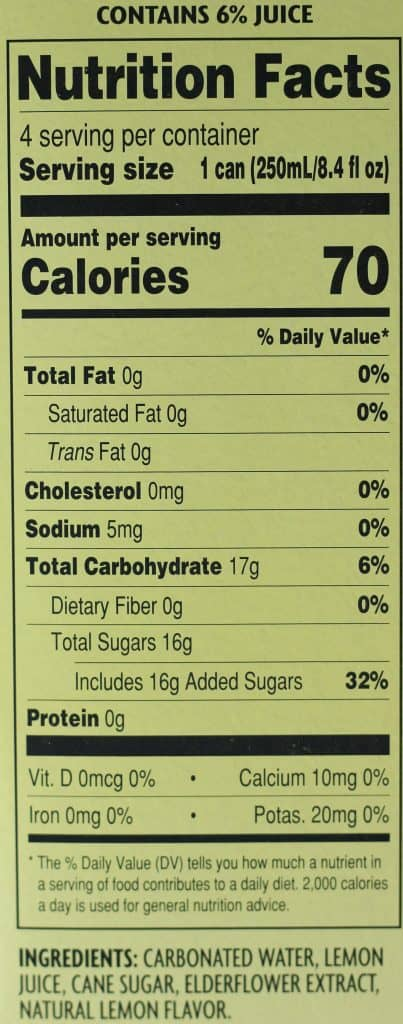 Trader Joe's Lemon Elderflower Soda nutritional info and ingredients