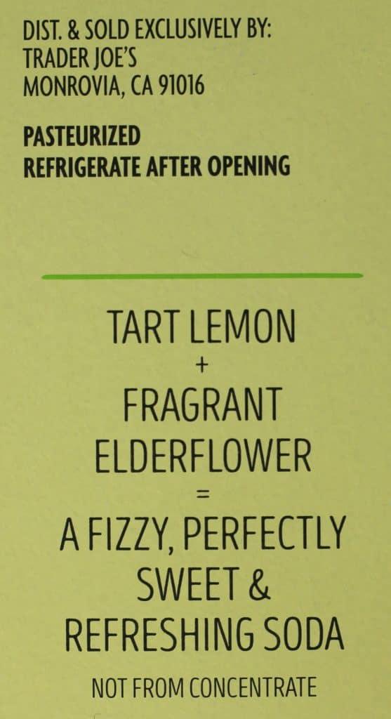 Trader Joe's Lemon Elderflower Soda description from the side of the package