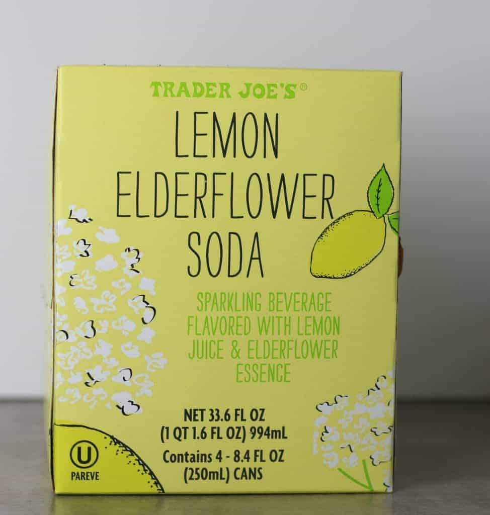 Trader Joe's Lemon Elderflower Soda box with a white background