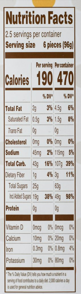 Trader Joe's Mango Mini Mochi nutritional information