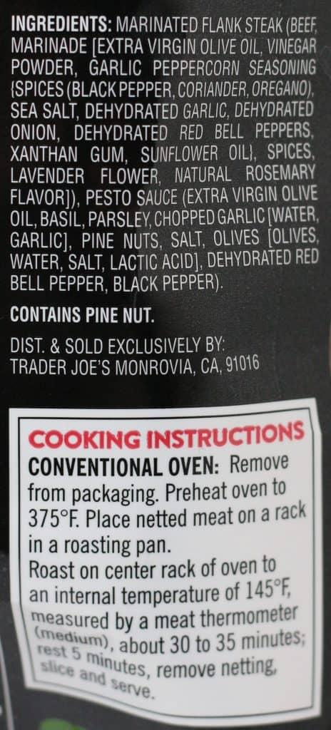 Trader Joe's Marinated Beef Flank Steak Pesto Roll ingredient list and how to prepare