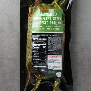 Trader Joe's Marinated Beef Flank Steak Pesto Roll package