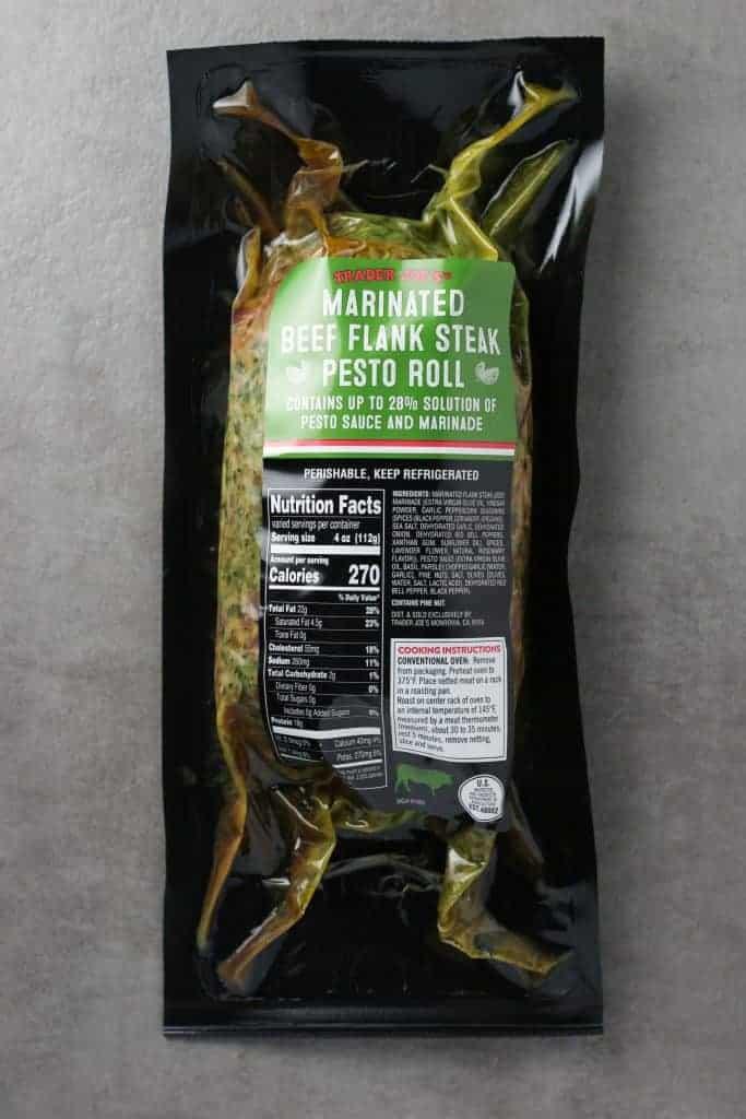 Trader Joe's Marinated Beef Flank Steak Pesto Roll package